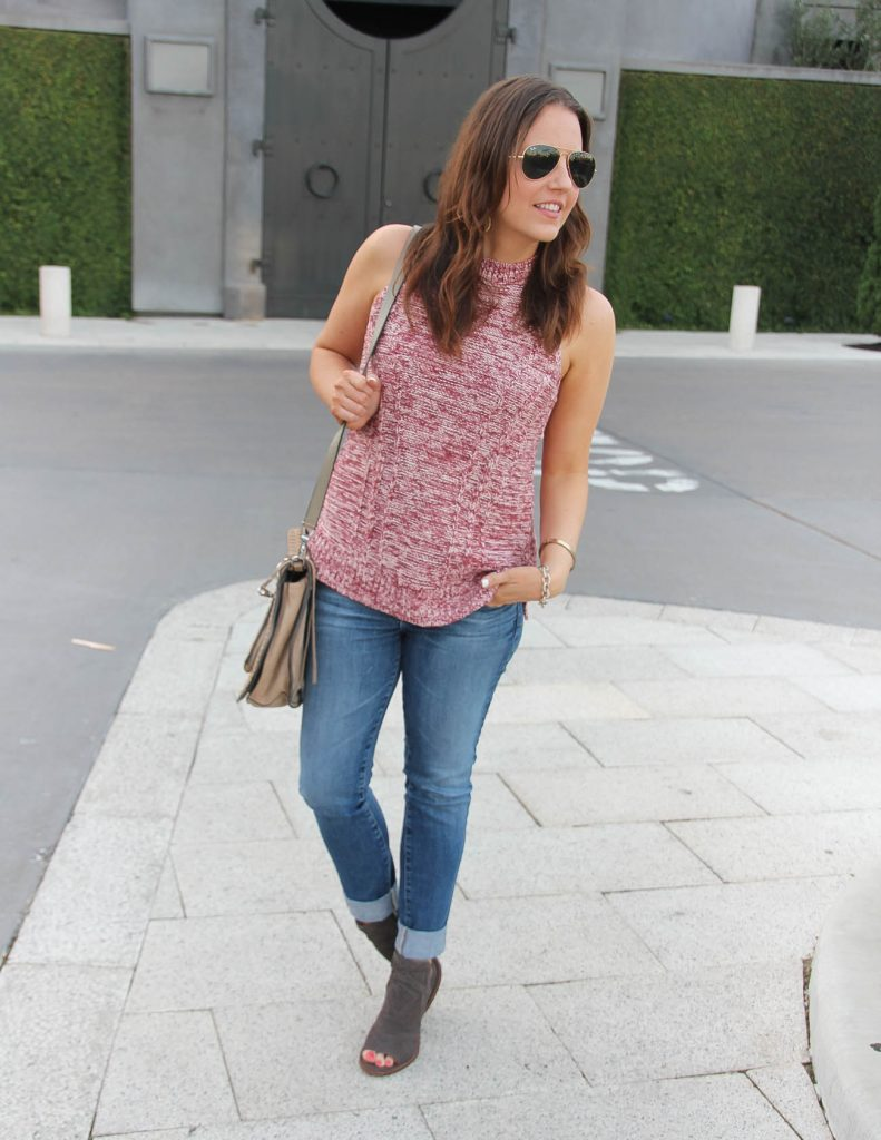 Fall Outfit | Sleeveless Sweater | Cuffed Jeans | Lady in Violet | Houston Fashion Blogger