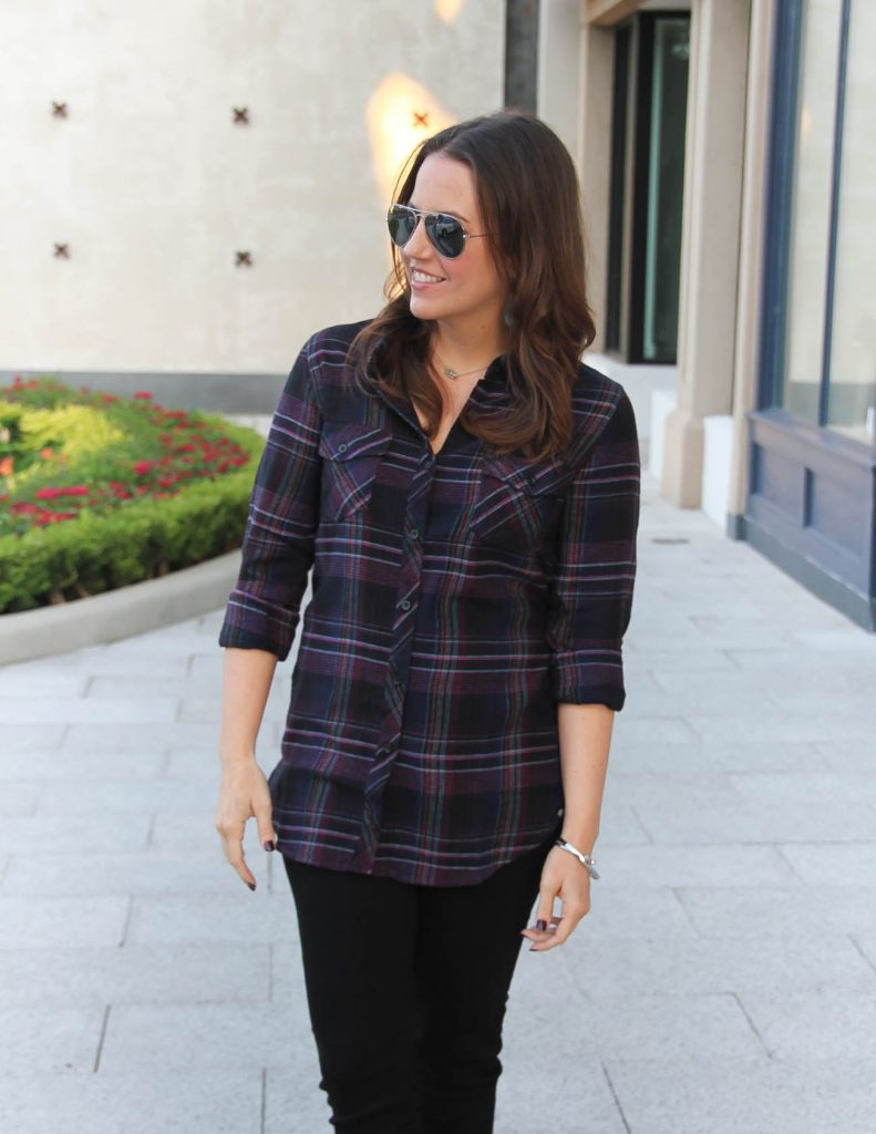 Casual Fall Outfit | Purple and Black Plaid Shirt | Lady in Violet | Houston Style Blogger