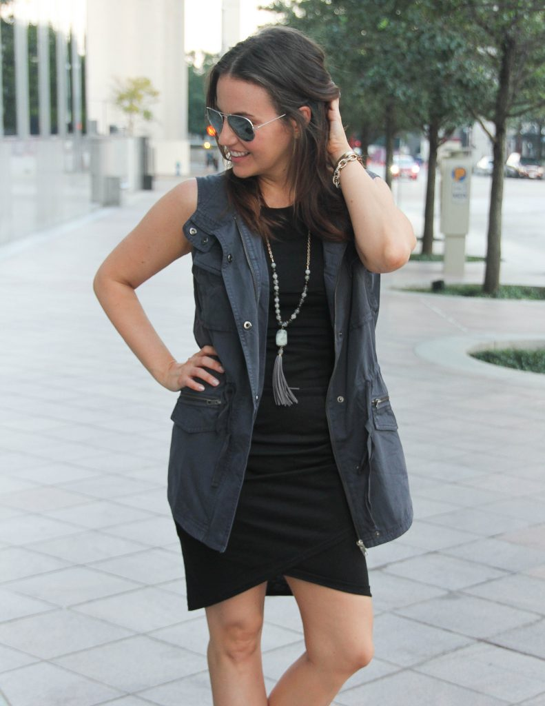 Fall Basics | Gray Vest | Black Dress | Stone Pendant Necklace | Houston Fashion Blogger