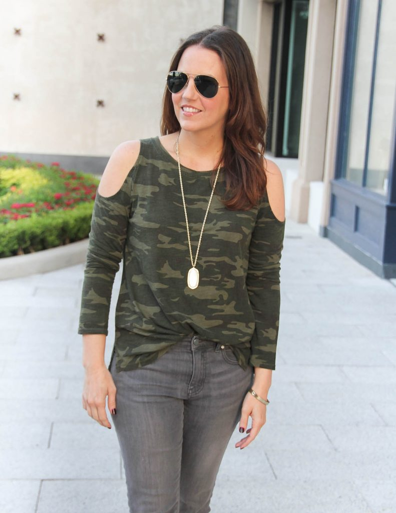 Fall Outfit | Camo Tee | Kendra Scott Rae Necklace | Lady in Violet | Houston Fashion Blogger