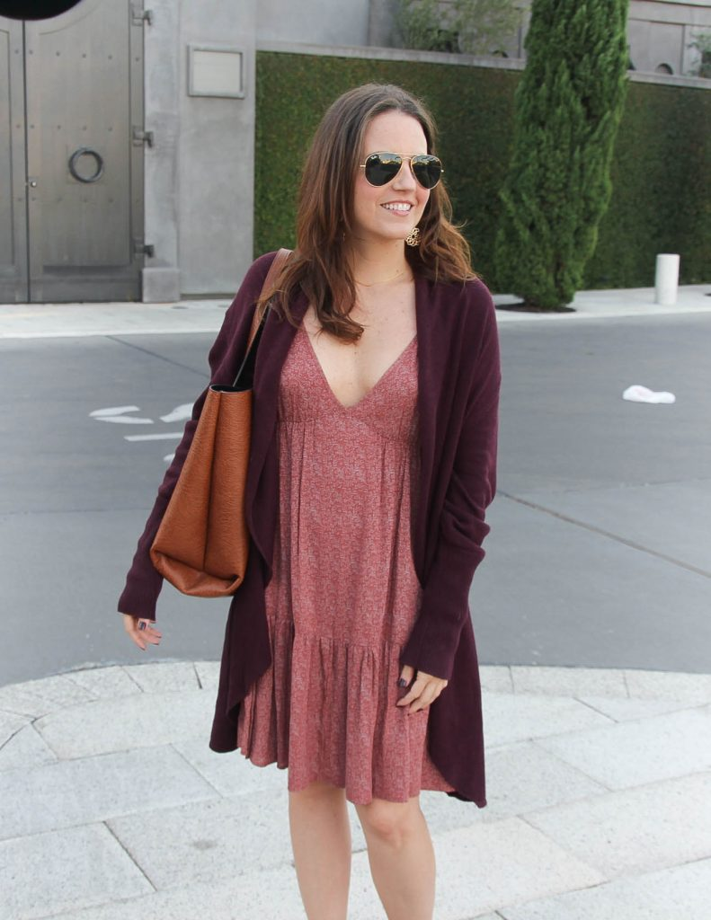 Fall Outfit | Casual Summer Dress | Burgundy Circle Cardigan | Lady in Violet | Houston Fashion Blogger