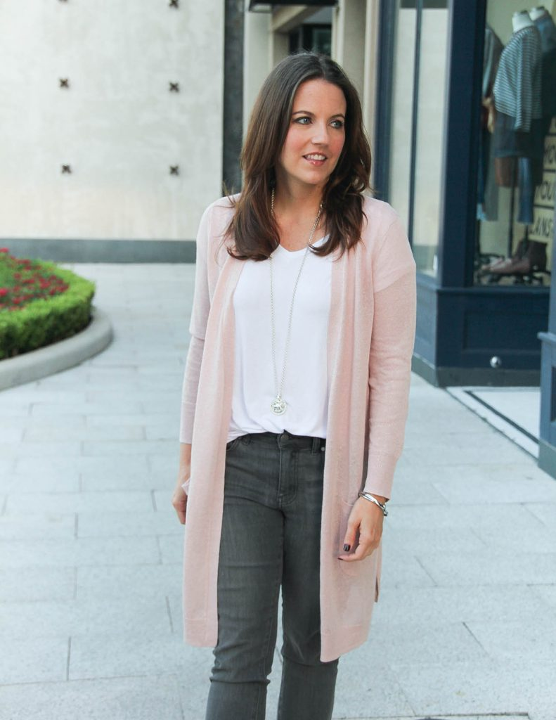 Fall Outfit Idea | Pink Cardigan with White Tshirt | Lady in Violet Fashion Blog