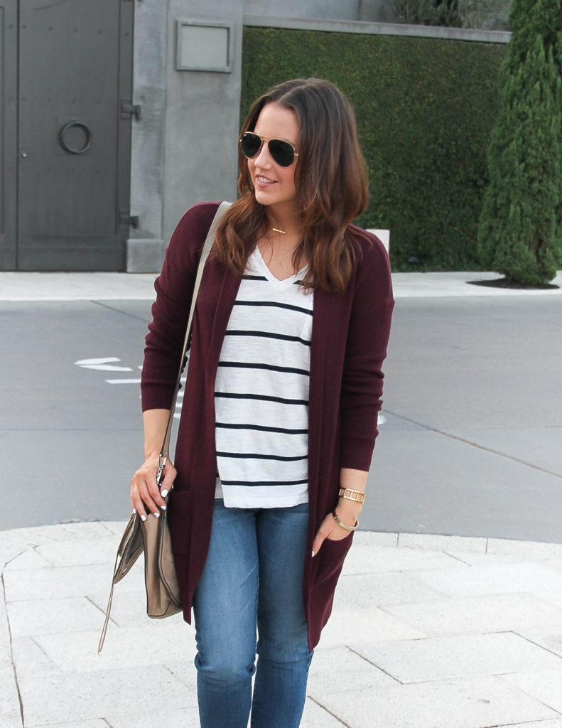 Fall Outfit | Long Cardigan | Striped Tshirt | Lady in Violet Fashion Blog