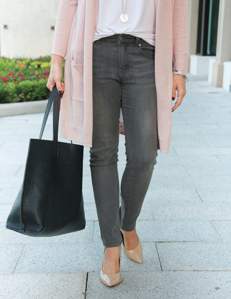 Casual Fall Outfit | Gray Jeans under $100 | Steve Madden Heels | Lady in Violet | Houston Fashion Blogger