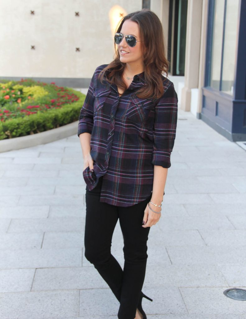 Fall Outfit | Black Plaid Top | Black Skinny Jeans | Lady in Violet | Houston Fashion Blogger