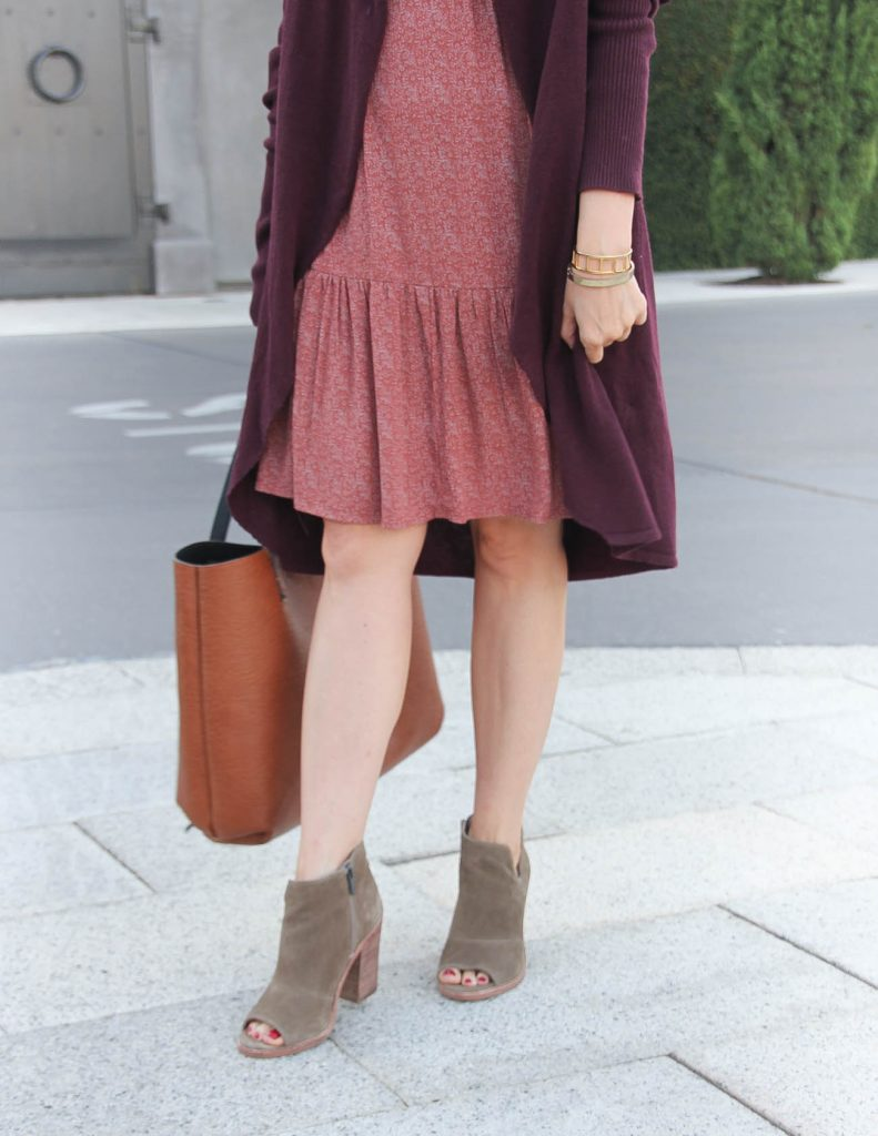 Fall Outfit | Brown Peep Toe Booties | Ruffle Hem Dress | Lady in Violet Fashion Blog