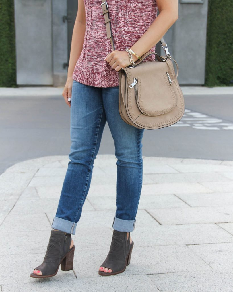 Fall Outfit | Cuffed Jeans | Peep Toe Booties | Lady in Violet | Houston Fashion Blogger