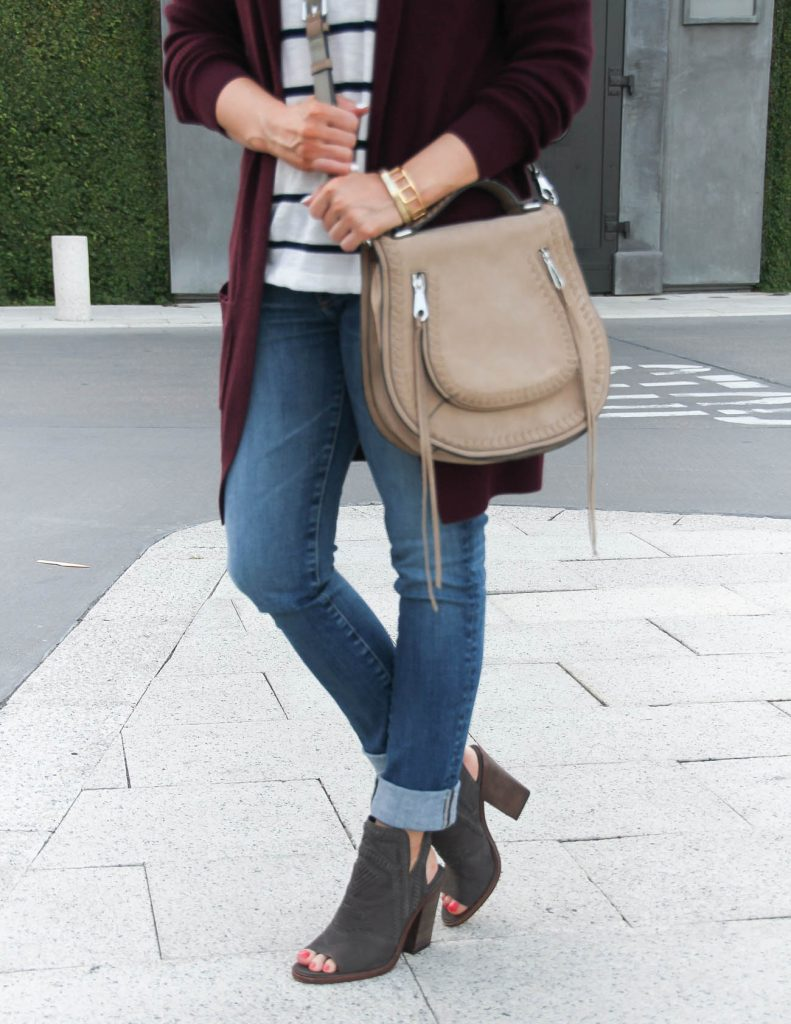 Fall Outfit Idea | Cuffed Jeans | Peep Toe Booties | Lady in Violet | Houston Fashion Blog
