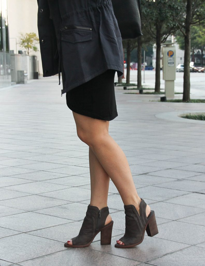 Fall Outfit | Peep Toe Booties | Gray Utility Vest | Houston Fashion Blog Lady in Violet