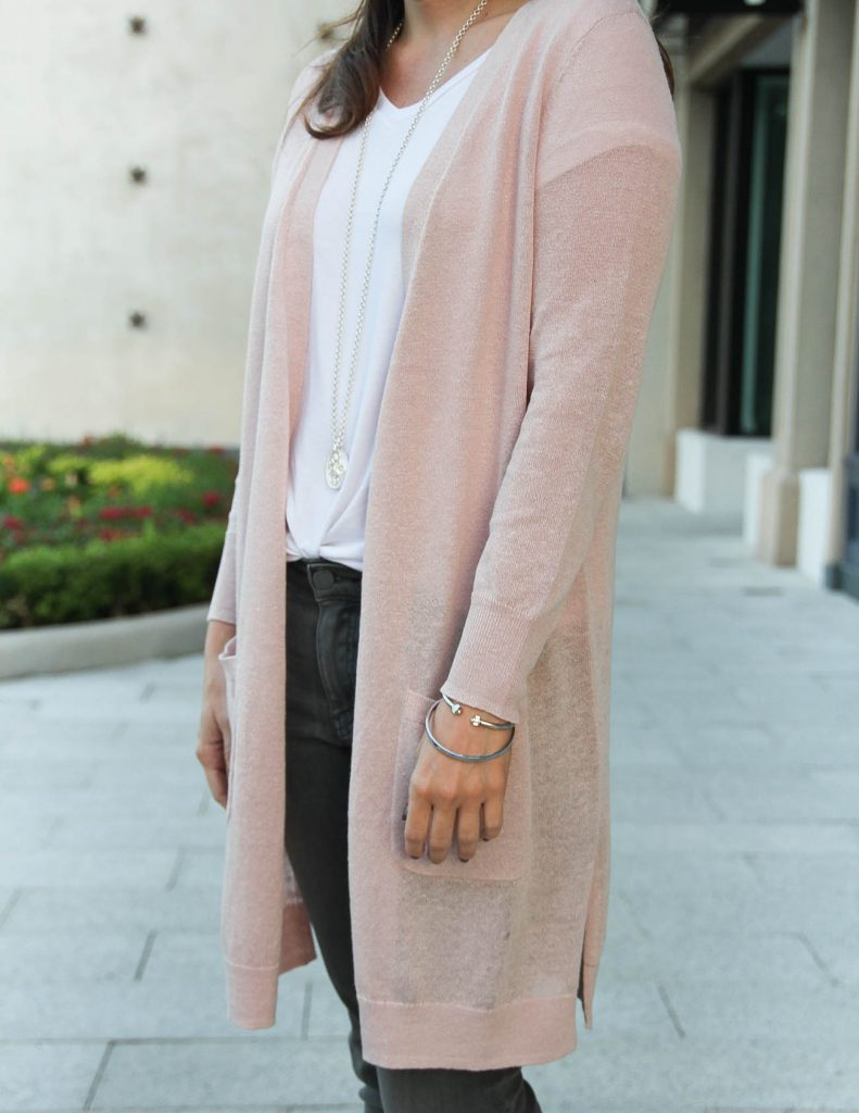 Winter Outfit | Long Pink Cardigan | Julie Vos Necklace | Lady in Violet Fashion Blog