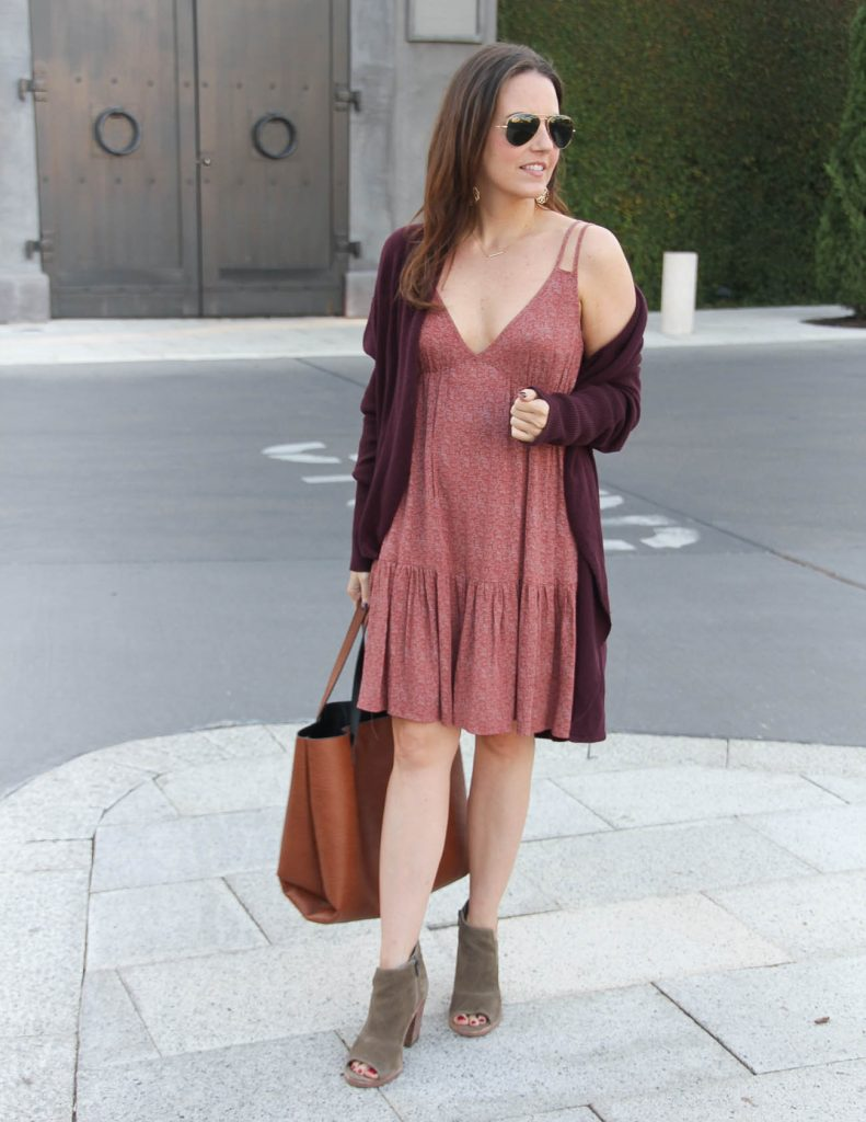 Casual Fall Outfit | Burgundy Cardigan over Summer Dress | Lady in Violet Fashion Blog