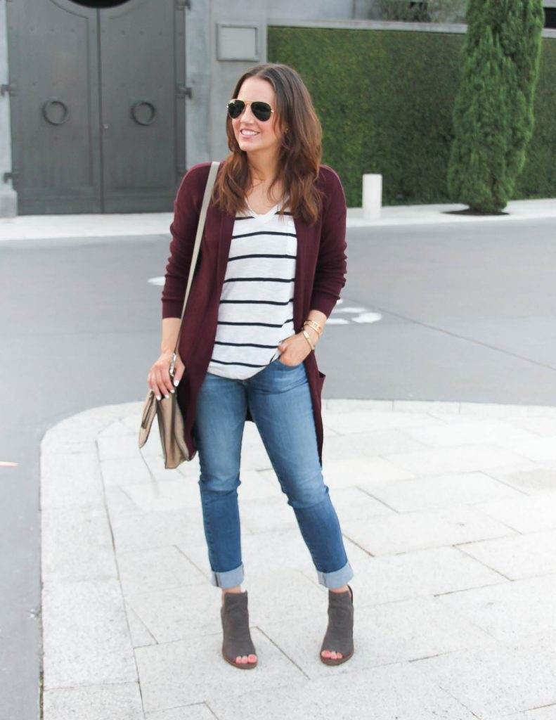 Casual Fall Outfit | Long Cardigan | Peep Toe Booties | Lady in Violet Fashion Blogger