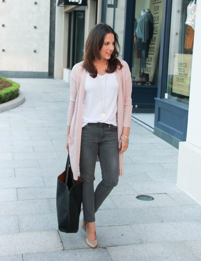 cbc494fb9c6 Blush Pink Cardigan + Gray Jeans under  100 - Lady in VioletLady in ...