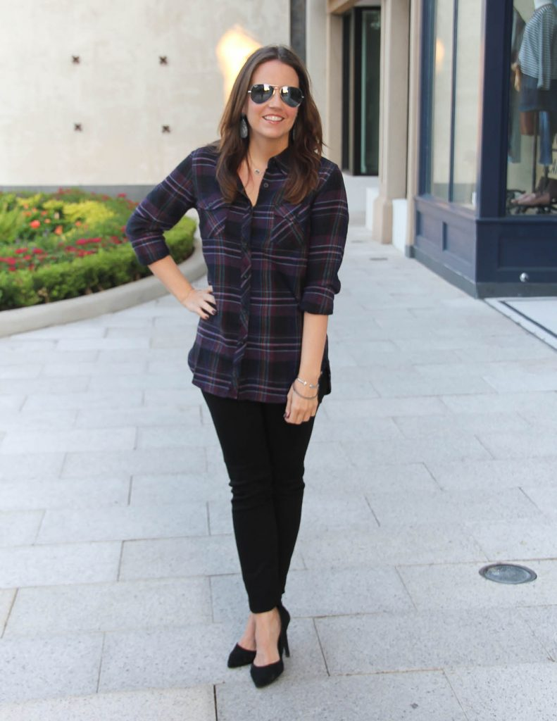 Fall Outfits | Dark Plaid Shirt | Black Skinny Jeans | Lady in Violet | Houston Fashion Blogger