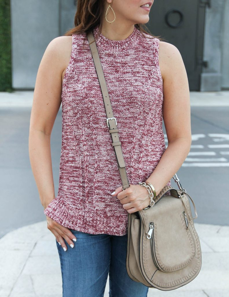 Sleeveless Sweater | Rebecca Minkoff Vanity Saddle Bag | Lady in Violet | Houston Fashion Blogger
