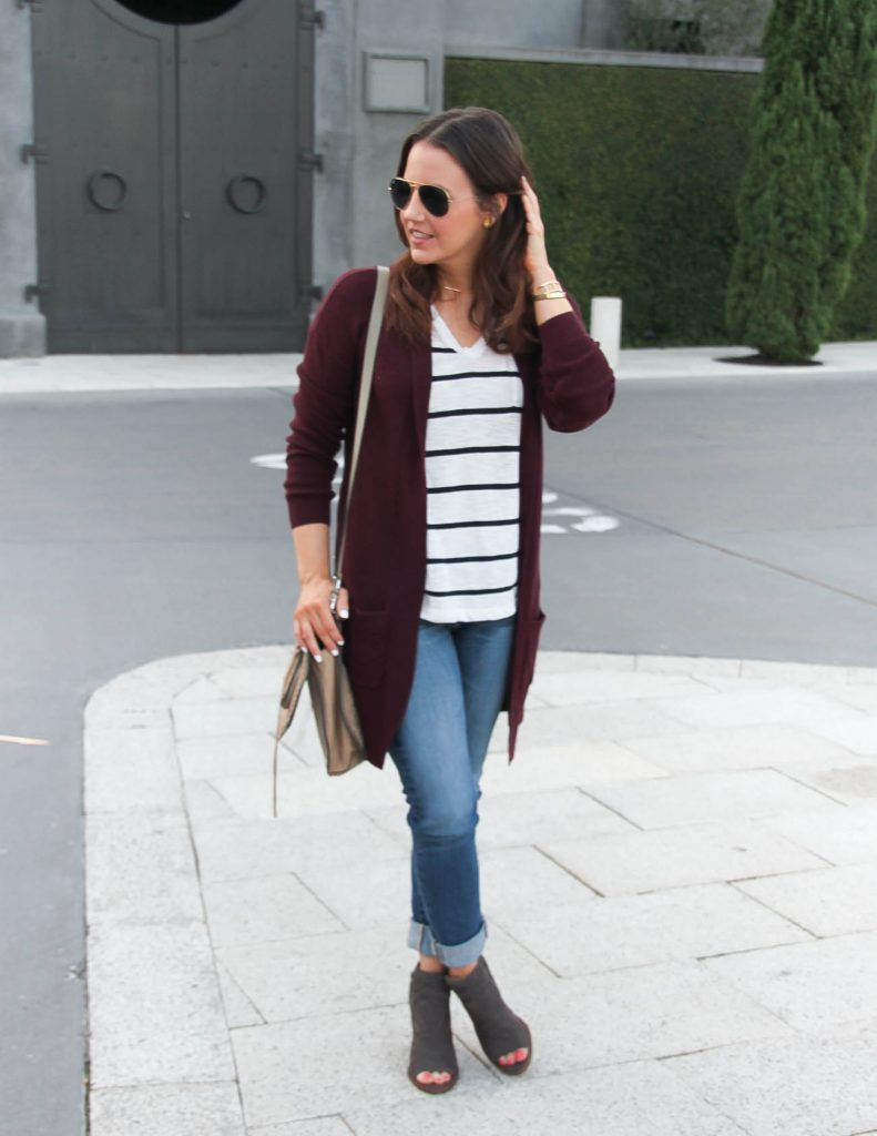Layered Fall Outfit | Maroon Long Cardigan | Striped Tee | Lady in Violet | Houston Fashion Blog