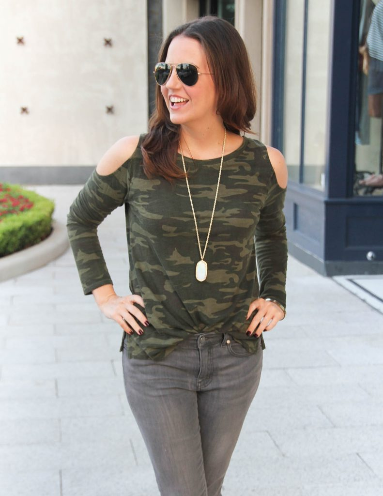 Fall Outfit | Camo Cold Shoulder Top | Houston Fashion Blog