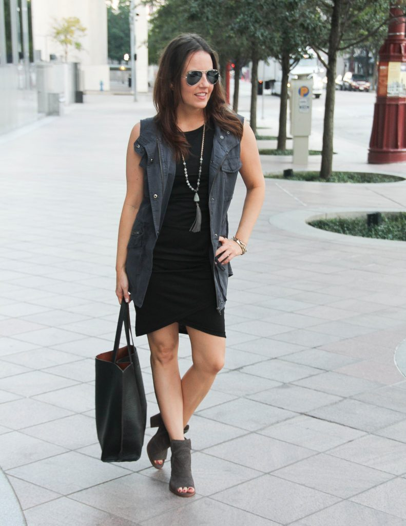Fall Outfit | Leith Tank Dress | Gray Utility Vest | Houston Fashion Blogger