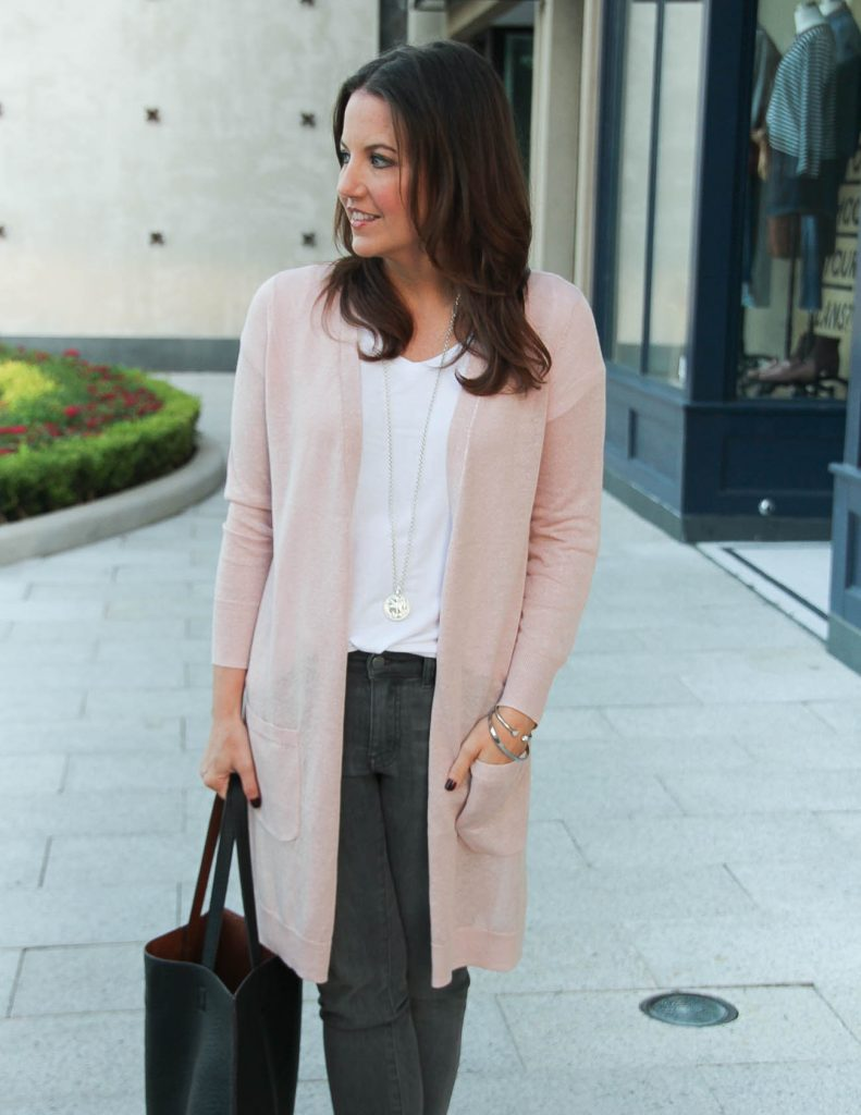 Fall Outfit | Millennial Pink Cardigan | White Tee | Lady in Violet Fashion Blog