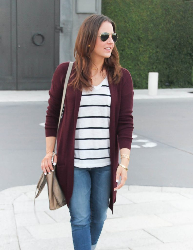 Layering Fall Basics | Long Cardigan with a striped tee | Lady in Violet | Houston Fashion Blogger