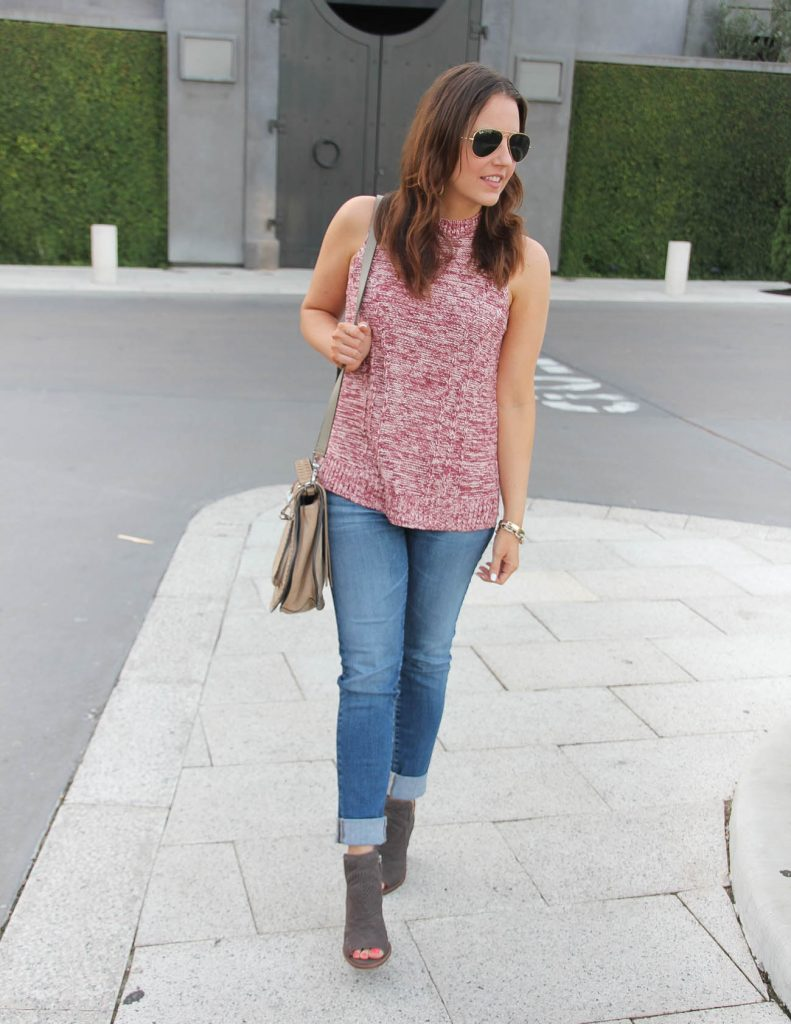 Summer to Fall Transitional Outfit | Sleeveless Sweater | Cuffed Jeans | Lady in Violet | Houston Fashion Blogger