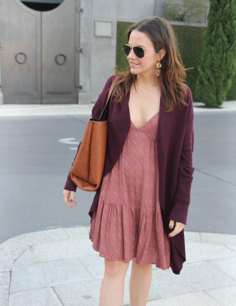 Casual Fall Outfit | Sundress | circle Cardigan | Lady in Violet Fashion Blog