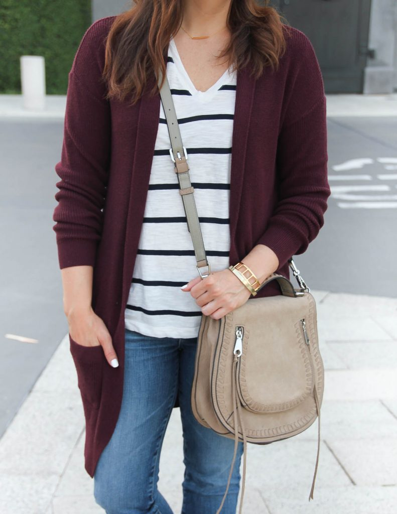 Fall Layered Outfit | Striped Tee | Long Cardigan | Lady in Violet | Houston Fashion Blogger