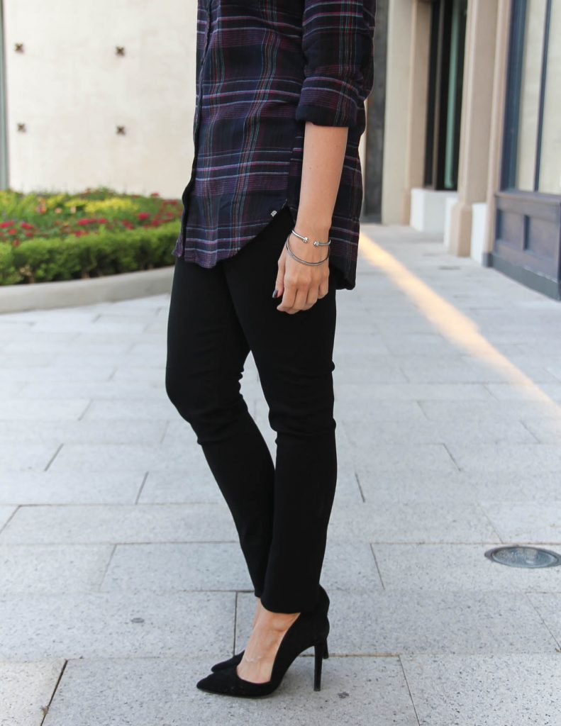 Hudson Skinny Jeans | D'Orsay Heels | Dressy Casual Outfit | Lady in Violet | Houston Style Blogger