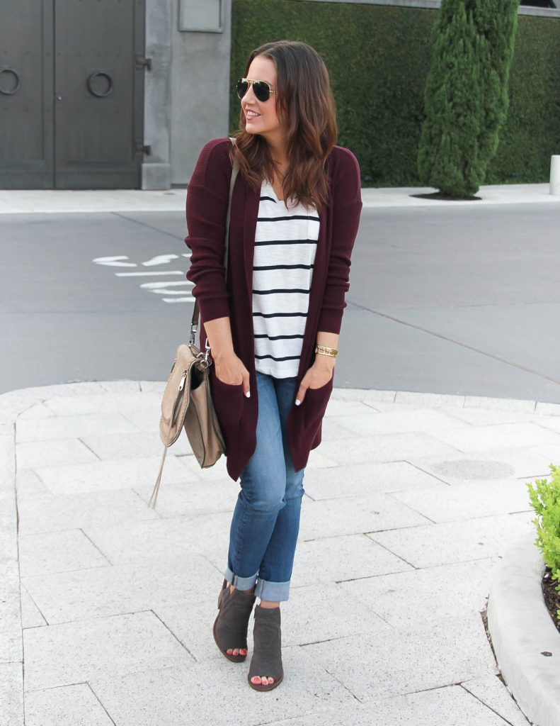 Casual Fall Outfit | Long Cardigan | Skinny Blue Jeans | Lady in Violet | Houston Fashion Blog
