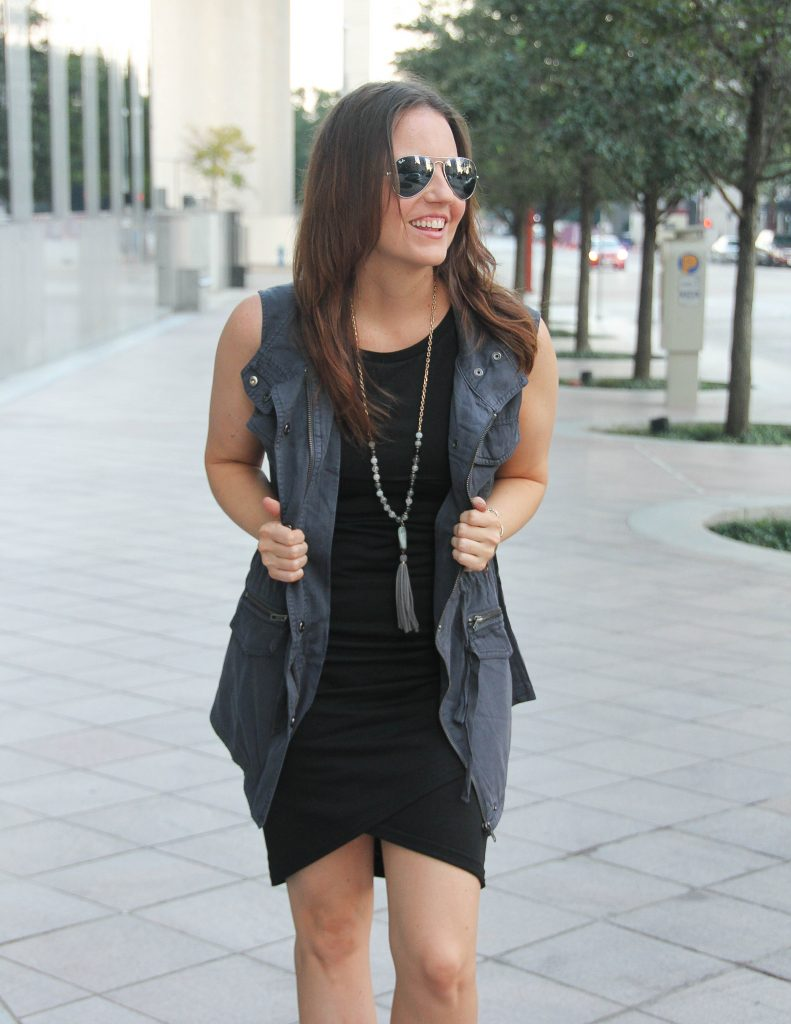 Casual Fall Outfit | Black Bodycon Dress | Gray Utility Vest | Lady in Violet Fashion Blog
