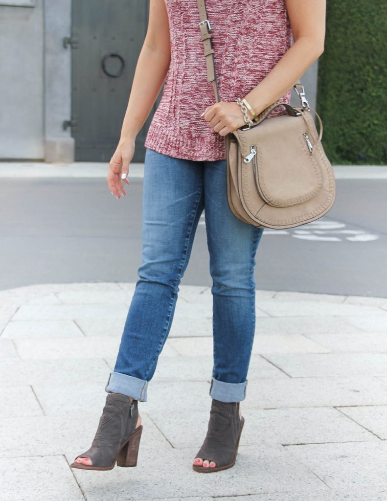 Fall Outfit | AG Skinny Jeans | Vince Camuto Peep Toe Booties | Lady in Violet | Houston Fashion Blogger
