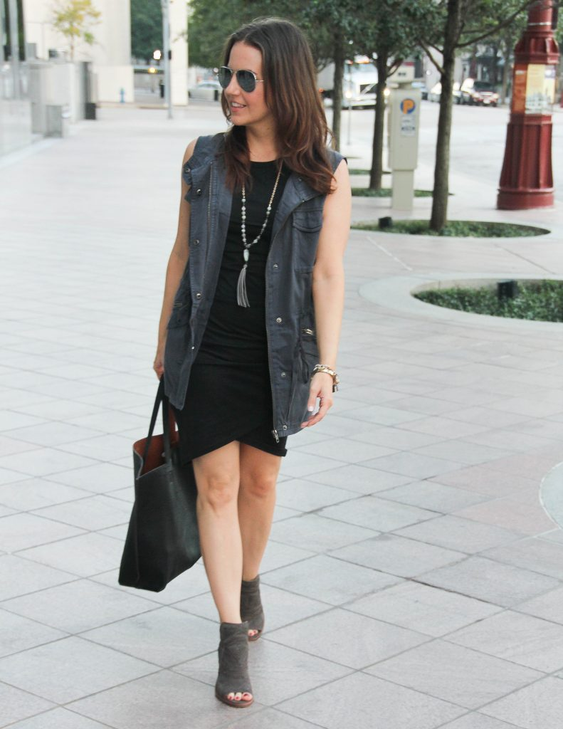 Casual Fall Outfit | Gray Utility Vest | Black Fitted Dress | Houston Fashion Blogger