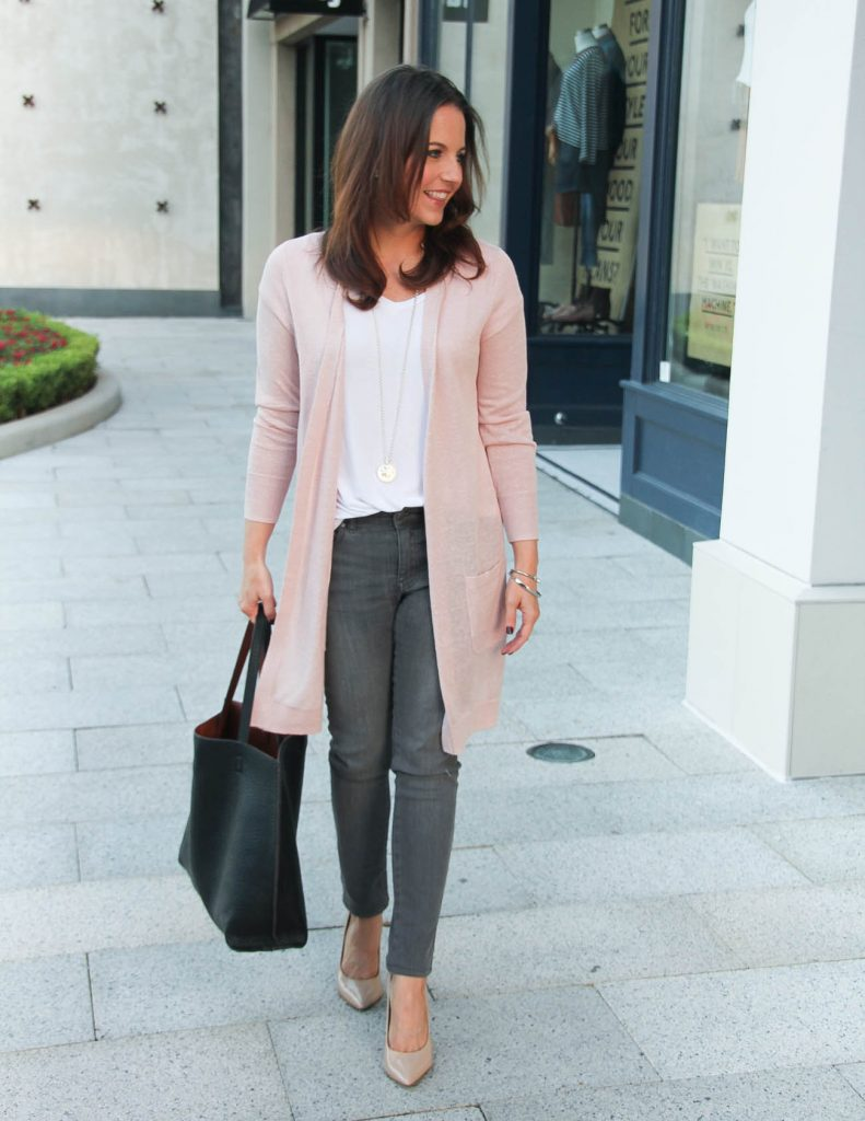 Fall Outfit | Blush Pink Cardigan | Gray Skinny Jeans | Lady in Violet Fashion Blog