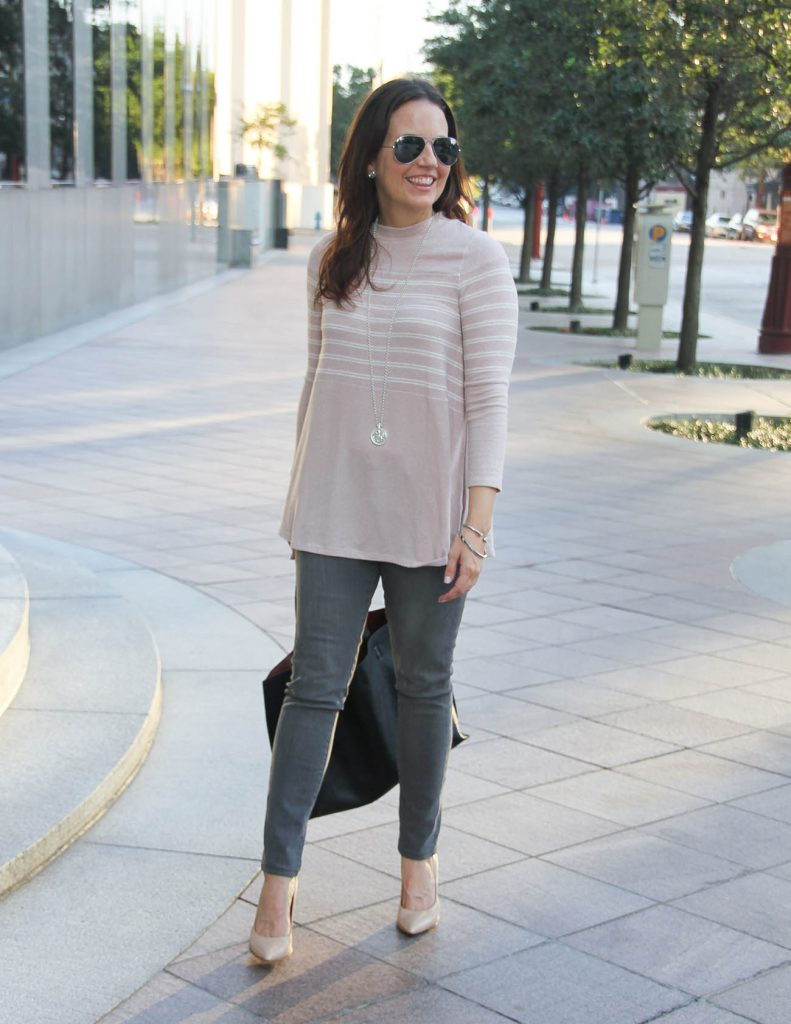 Fall Outfit | Blush Pink Sweater | Gray Jeans | Lady in Violet Fashion Blog