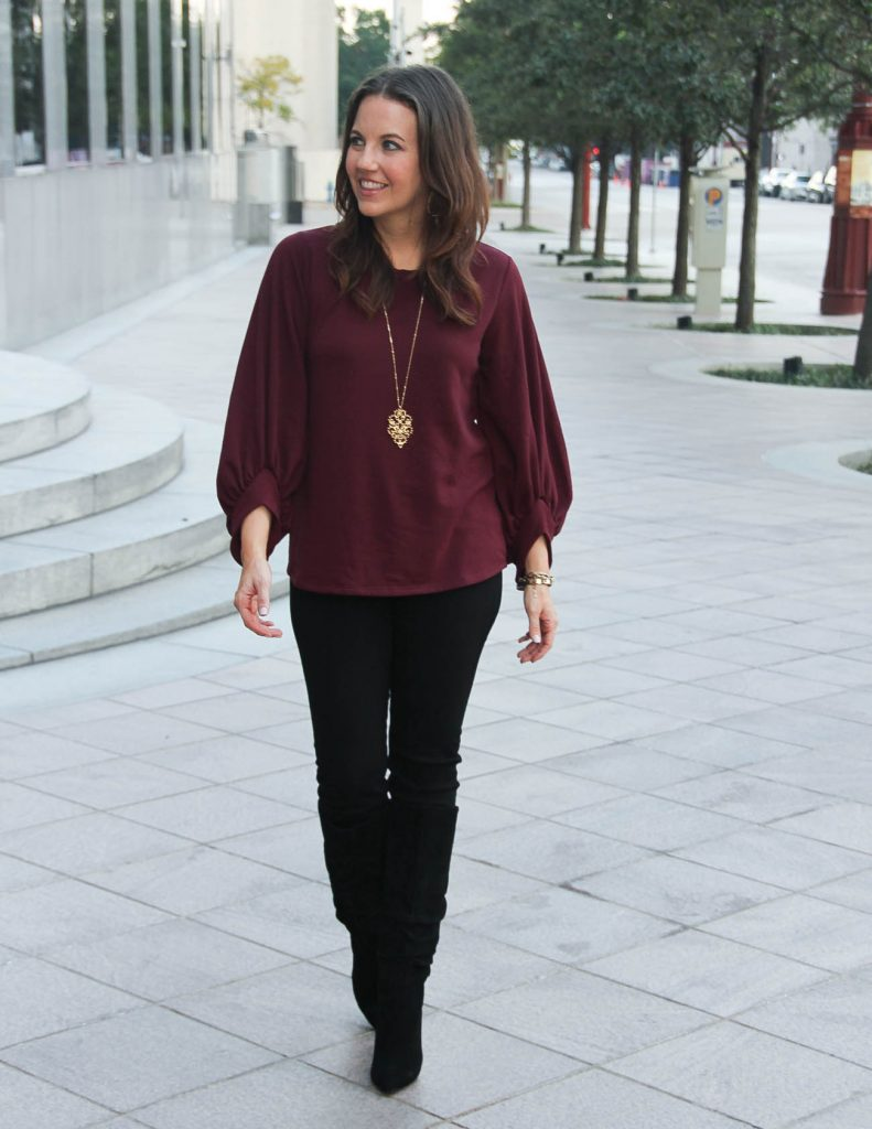 Fall Outfit | Burgundy Dramatic Sleeve Sweater | Black Jeans | Lady in Violet Fashion Blog