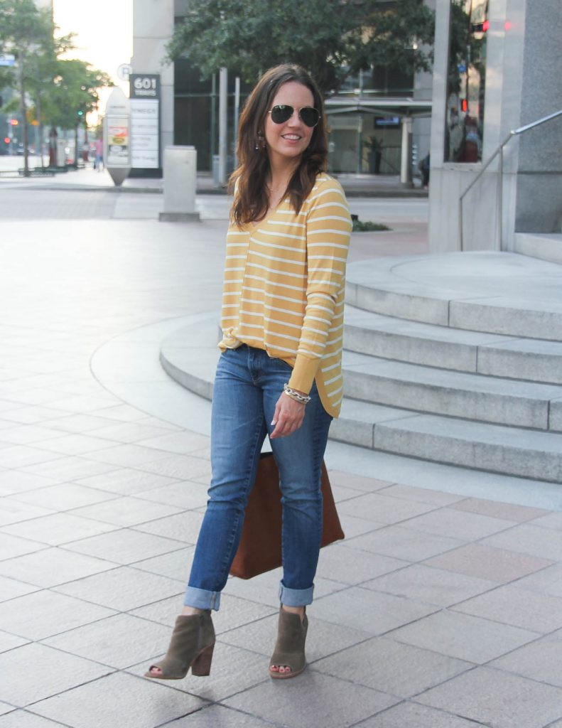 Fall Outfit | Yellow Striped Sweater | Cuffed Blue Jeans | Lady in Violet Fashion Blog