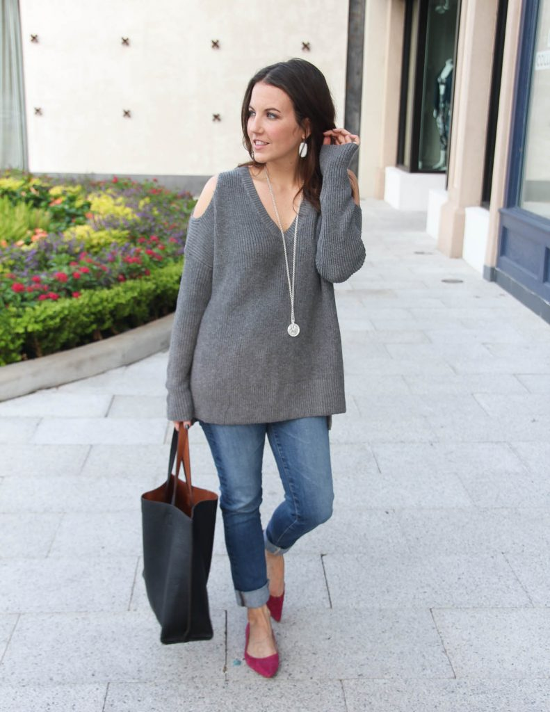 Winter Outfit | Gray Cold Shoulder Sweater | Pink Flats | Lady in Violet Fashion Blog