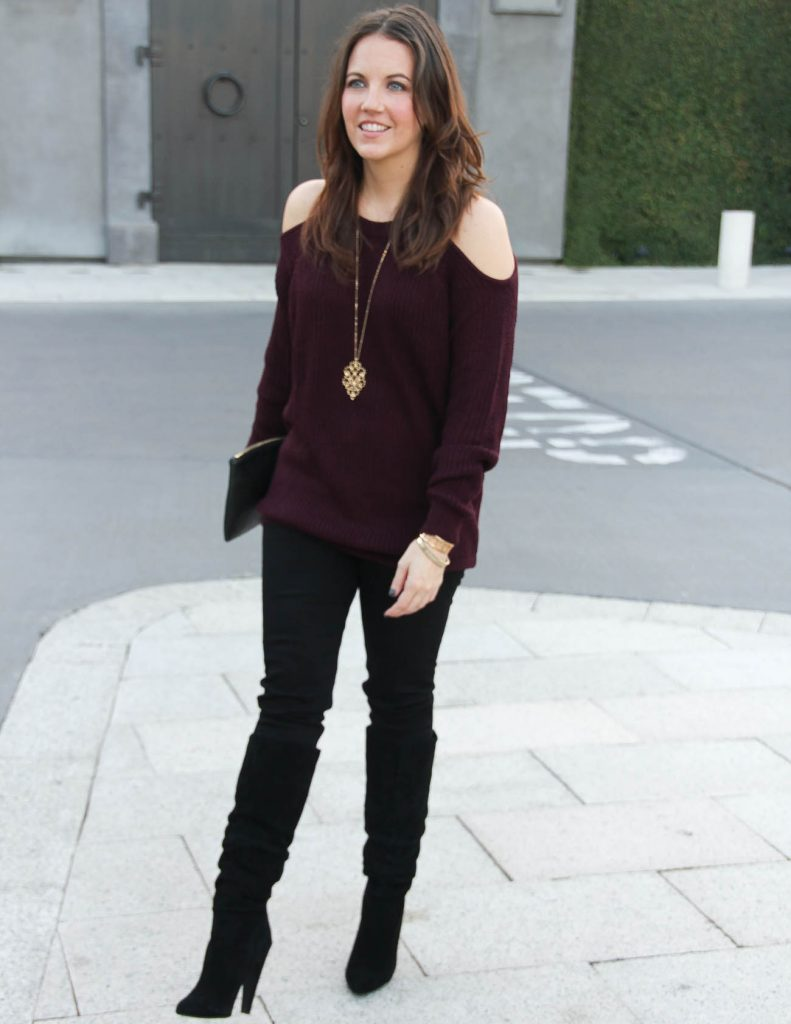 Winter Outfit | Purple Cold Shoulder Sweater | Black Slouchy Boots | Houston Fashion Blogger Lady in Violet