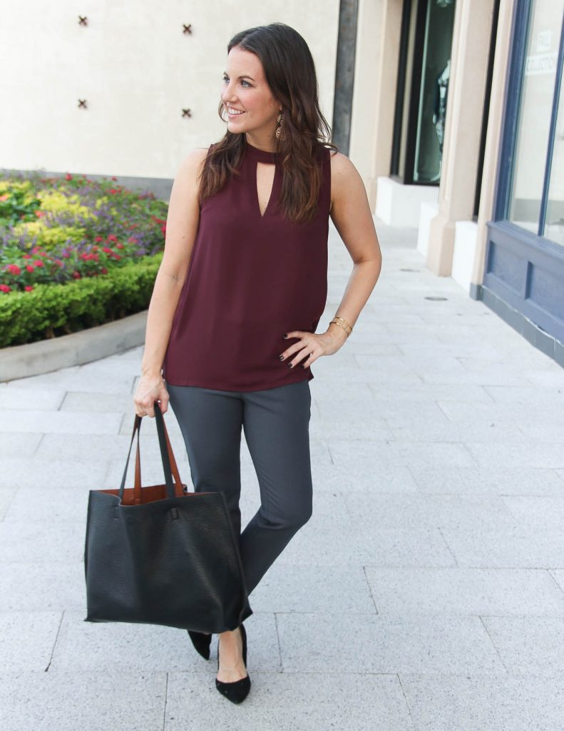 Work Outfit | Choker Top | Gray Skinny Pants | Houston Fashion Blogger Lady in Violet