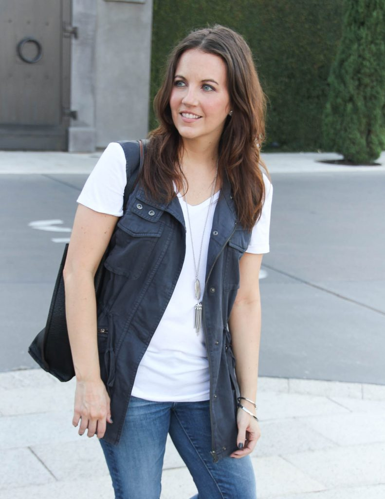 Fall Layered Outfit | White Tshirt | Utility Vest | Houston Fashion Blog Lady in Violet