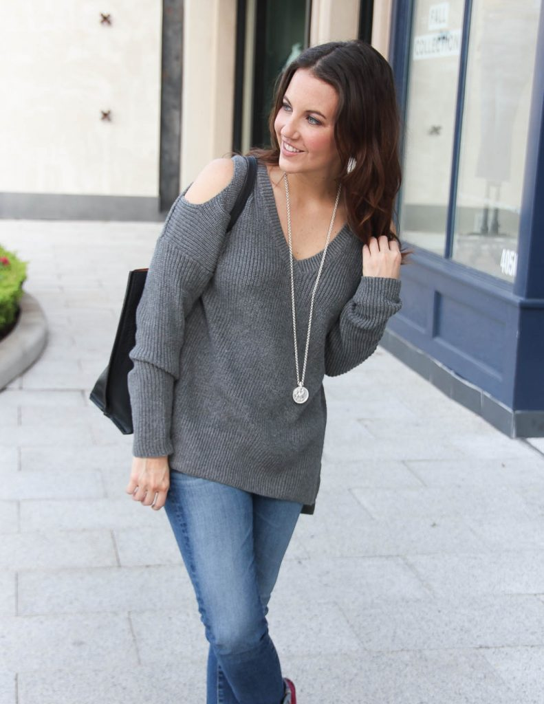 Fall Outfit | Gray Cold Shoulder Tunic Sweater | Houston Fashion Blogger Lady in Violet