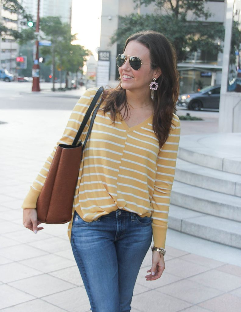 Fall Outfit | Lightweight Striped Sweater | Pink Hoop Earrings | Houston Fashion Blogger Lady in Violet