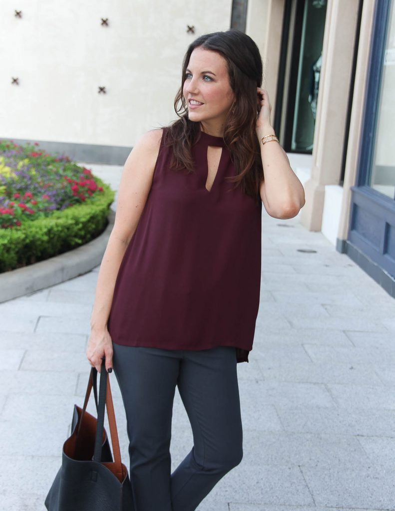 Fall Work Outfit | Maroon Shell Top | Gold Drop Earrings | Lady in Violet Fashion Blog