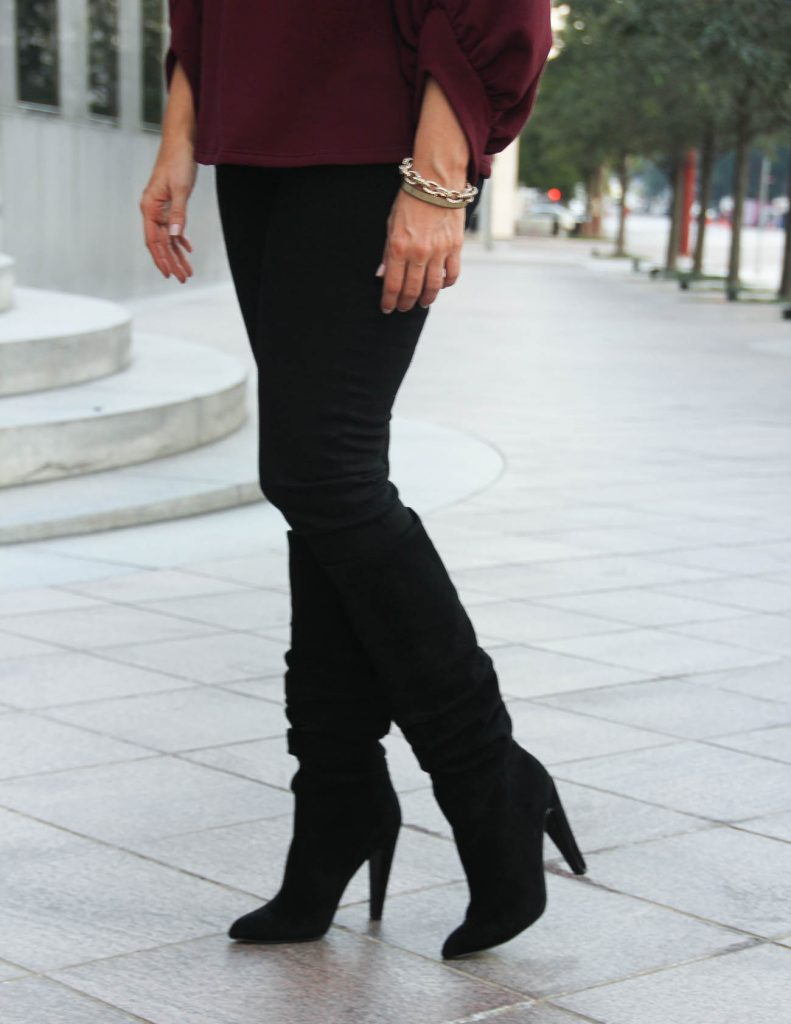 Black Slouchy Boots under $200 | Hudson Skinny Jeans | Houston Fashion Blogger Lady in Violet