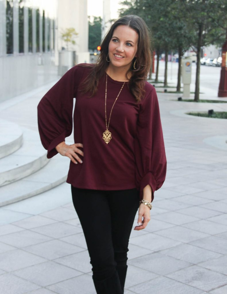 Burgundy Sweatshirt | Long Gold Pendant Necklace | Lady in Violet Fashion Blog