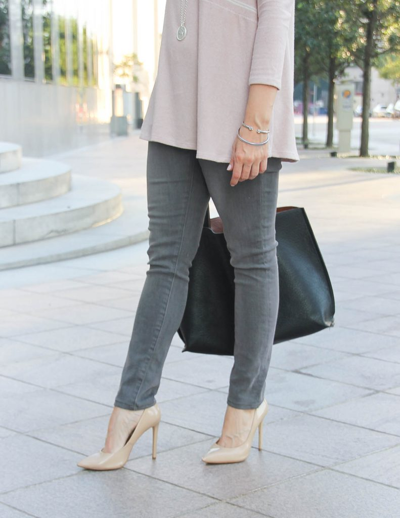 Casual Outfit | Gray Jeans under $100 | Silver Bangle | Lady in Violet Houston Fashion Blogger