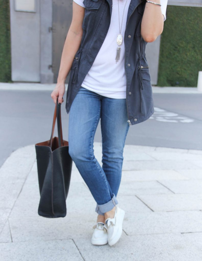Casual Weekend Outfit | White Sneakers | Cuffed Jeans | Houston Fashion Blog Lady in Violet