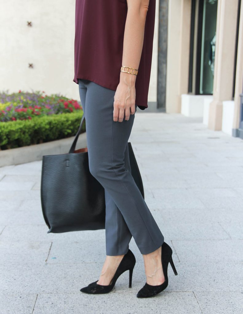 Fall Office Outfit | Gray Work Pants | Black Dorsay Heels | Houston Fashion Blog Lady in Violet