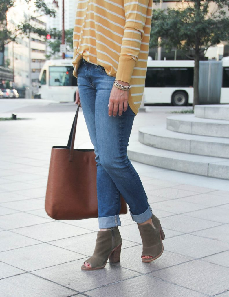 Fall Outfit | AG Skinny Jeans | Brown Peep Toe Booties | Lady in Violet Fashion Blog