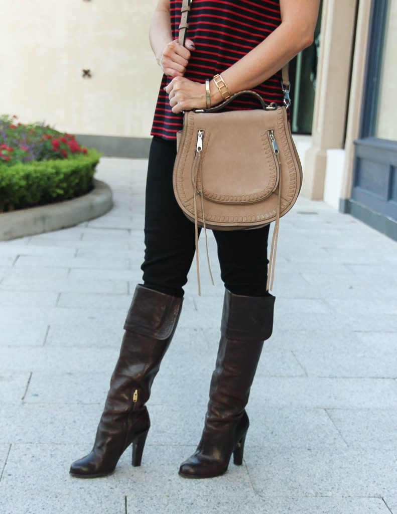 Fall Outfit | Brown Heeled Tall Boots | Saddle Crossbody Bag | Houston Fashion Blog Lady in Violet